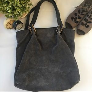 Talbots Suede Leather Tote Bag Gray like NEW